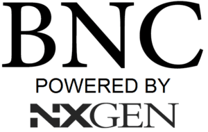 BNC POWERED BY NXGEN BLACK SQUARE LOGO